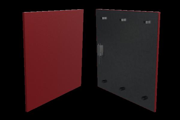 rote 400 Watt Infrarotheizung ISP (600mm) mit Funkempfänger Front- und Rückansicht