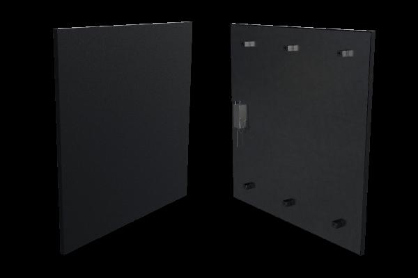400 Watt Infrarotheizung ISP-Bi schwarz (600mm) mit Funkempfänger Front- und Rückansicht