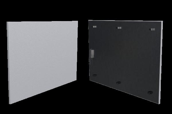 500 Watt Infrarotheizung ISP-Wi weiß (600mm) mit Funkempfänger Front- und Rückansicht