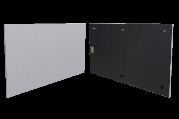 800 Watt Infrarotheizung ISP-Wi weiß (600mm) mit Funkempfänger Front- und Rückansicht