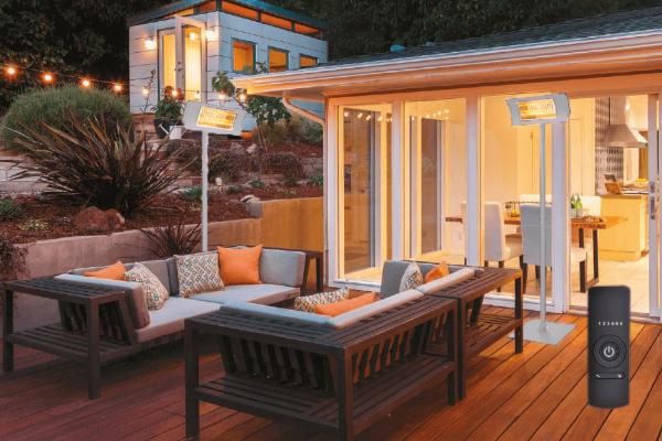 Terrassenstrahler Komplett-Set weiß auf Terrasse
