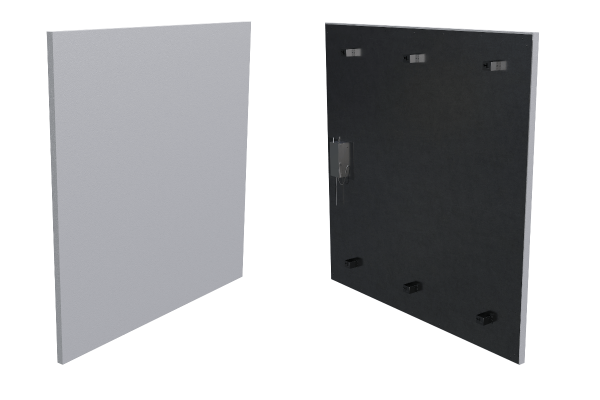 400 Watt Infrarotheizung ISP-Wi weiß (600mm) mit Funkempfänger Front- und Rückansicht