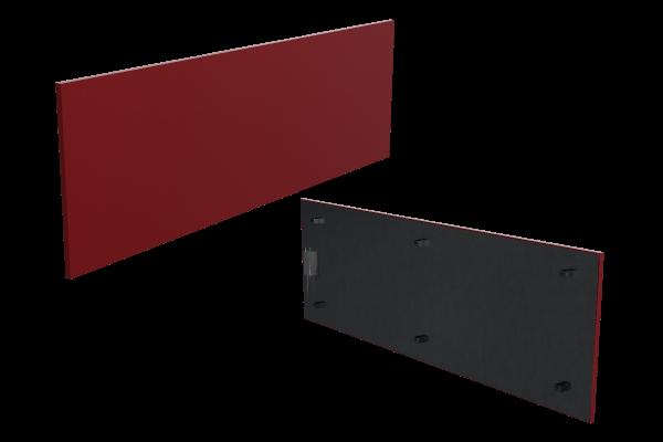 schmale 500 Watt Infrarotheizung ISP rot von Technotherm Front- und Rückansicht