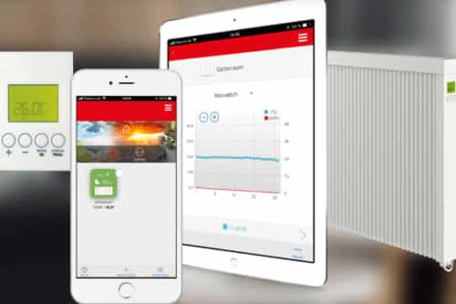 Besonders praktisch sind smarte Elektroheizkörper, welche über eine App-Steuerung verfügen. DSM Steuerung von Technotherm