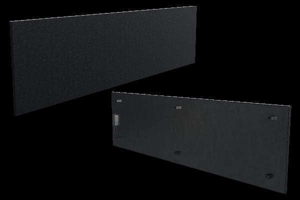 1250 Watt Infrarotheizung ISP-Bi schwarz (600mm) mit Funkempfänger Front- und Rückansicht