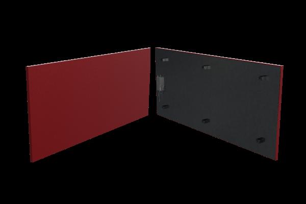 schmale 400 Watt Infrarotheizung ISP rot von Technotherm Front- und Rückansicht